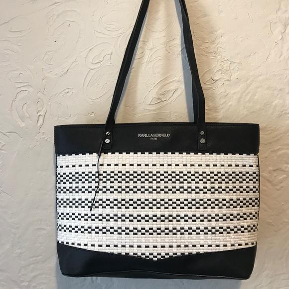 Karl Lagerfeld Handbags - Karl Lagerfeld Black and White Raffia Tote
